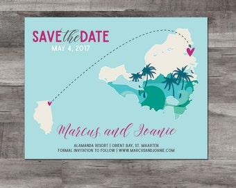 Destination wedding Save the Date – St. Maarten Destination Wedding – Map Save the Date - Wedding Save the Date - Caribbean wedding
