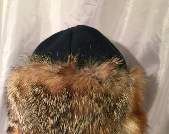 Amazing and Beautiful Mongol, Mongolian, Russian, Viking fur hat blended fox fur hat with green wool top
