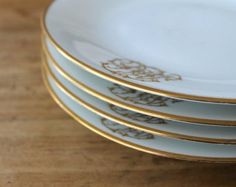 French Gilded Age Monogramed Plates, D&C Limoges c1890, Art Nouveau Lettering, Aesthetic Era