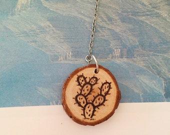 Cactus Wood Pendant Necklace