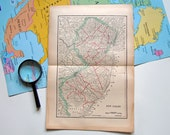 Vintage 1910 Map of New Jersey State Antique US Map New Jersey Map