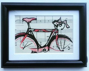 Bicycle wall art, an original framed drawing of a racing bike, by Andrea Joseph.