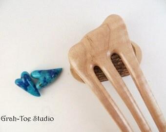 Hair Fork,Wood Hair Fork, Curly Maple Wood, Grahtoe Studio GTS,Man Bun, 3 Prong Hairfork, Hair Sticks, Wooden Hairforks, Hair Toy,Wood Forks