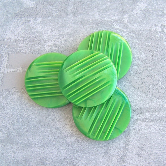 Bright Green Buttons 33mm - 1 1/4 inch Neon Green Vintage Retro Mod Shank Buttons - 4 VTG NOS Carved Modern Stripe Plastic Buttons PL184