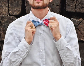 Self Tie Bow Tie Red, White and Blue for All Occasions Made in Asheville, NC MM-#15-48