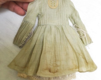Jiajia Doll limited 2 pieces vintage coffee and tea dye Andy's little dress green lace dress and mesh lace skirt fit Blythe Pullip Licca Azo