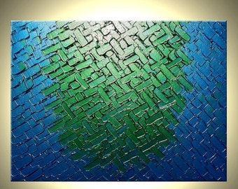 Metallic Blue Painting, Abstract Green Textured Painting, Original Palette Knife Art, By Lafferty - 18x24 Sale 22% Off