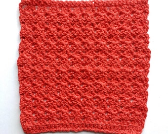 "8""x9"" Red with Silver Threads, Crochet, Dishcloth"