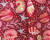 SALE FQ Tula Pink Bubble Shells  in Coral Saltwater