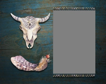 """10""""x8"""" Mat for 4""""x6"""" Photo - Skull and Feather"""