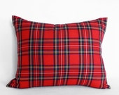 Red Christmas Cushion, Red Tartan Pillow, Lumbar Plaid Pillow Covers, Red Stewart Plaid Pillows,  Country Christmas Pillows, Oblong Pillows