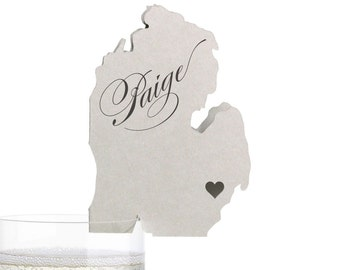 Michigan Place Cards - State Silhouette seating cards - with optional custom location heart cutout