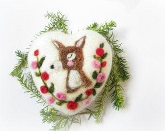 Felted ornament,Miniature Original Art,CollectibleChristmas ornament,Heart Decoration,Deer