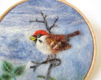 Needle felted wool painting,bird art, wool painting,needle felt art