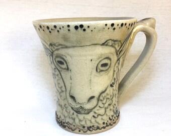 Funny Coffee Mug-Father's Day Gift-Housewarming Gift-Gift For Her-Mom Mug-HANDMADE-POTTERY MUG-Ceramic Mug-Sheep-Hand Painted-Stoneware Mug