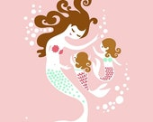 "SHOPWIDE SALE 8X10"" mermaid mother and twin daughters giclee print on fine art paper. pink, mint, brunette."
