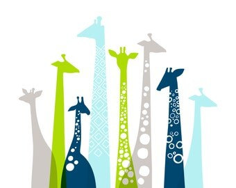 "14X11"" Giraffe silhouettes landscape giclee print on fine art paper. Sky blue, bright apple green, navy, gray."
