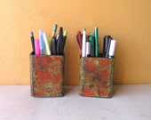 Industrial Style, Metal Pencil Cups, Pen Holders, metal office organizers, upcycled orange green desk accessory, office home restaurant