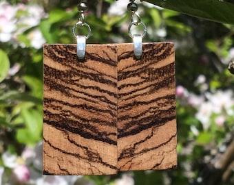 Zebra Wood Earrings Rectangle Lightweight Reclaimed Eco Green