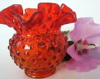 Fenton Amberina Red Crimped Rose Bowl Footed Ruffled Pedestal Rare Embossed Hobnail Scalloped Rim Signed