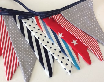 Nautical Bunting / fabric banner, red and navy bunting in stripes and dots, party bunting
