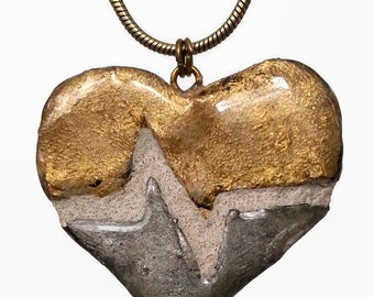 Broken Heart Pendant - Silver and Gold - Brass and Iron- EKG - Nurse Gift