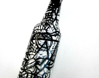 Dish Soap Dispenser,  Recycled Clear Beer Bottle, Painted Glass, Black and White Design