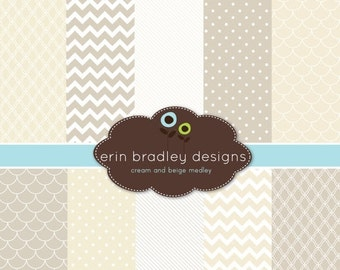 60% OFF SALE Digital Scrapbook Papers Personal and Commercial Use Beige and Cream Medley