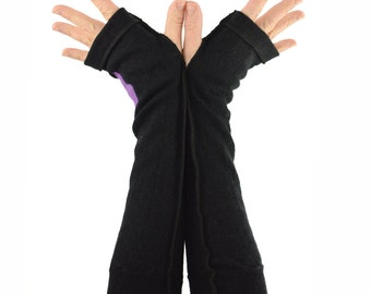 Arm Warmers in Basic Black Merino - Lilac Star - Upcycled Wool Sweater - Fingerless Gloves