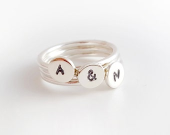 Personalised initial stacking rings in sterling silver