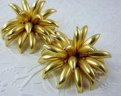Statement Earrings, Flower Clip Earrings, Extra Large, Lightweight Bold Gold Unique, Unusual Earrings, Vintage Costume Jewelry