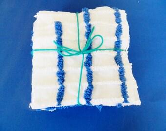 34 Chenille Quilt Squares,  Royal Blue Quilt Squares, Patchwork Quilt Sqs, Baby Quilt Square, Vintage White Chenille Fabric, White Chenille