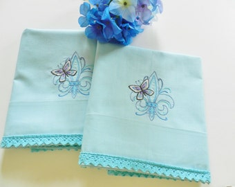 Fleur de Lis Pillowcases, Machine Embroidered, Blue Butterfly Pillowcases, Never Used Pillowcases,  Lavender ButterflyPillowcases