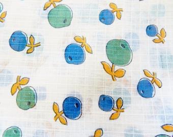 Lightweight Fabric, Vintage Fabric, Summer Fabric, Navy Blue Fabric, Russet Fabric, 34 x 45