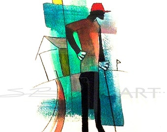 Par Watercolor Painting, Contemporary Art, Golf Wall Art, Black Golf, Golf Decor, Gift for Him, Home Decor Art, African American Art