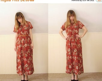 30% off ... 70s Red Floral Paisley SS Maxi Bohemian Boho Dress - Vintage - S M