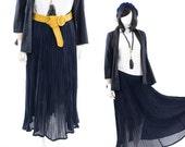 Pleated Skirt Long Maxi Semi Sheer Navy Blue Pleat Midi Skirt Size Lg.