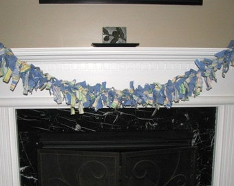 Blue Fabric Scraps Garland, 6 feet, Banner, Decor, Photography Background, Baby Wall Hanging, Birthday Decoration, Baby Shower Decor