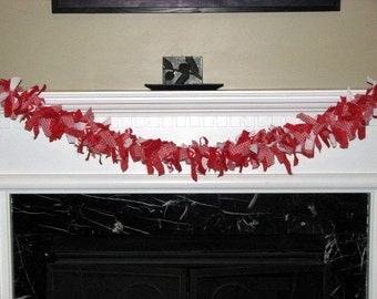 Red and White Fabric Garland,  Banner, Photography Background, Baby Wall Hanging, Birthday Decoration, Baby Shower Decor