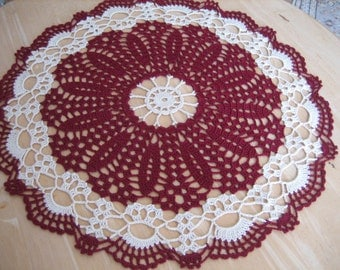 Crochet doily, table center, lace, open work, made by Demet, burgundy, ecru, very nice looking, ships free in the U.S. table center