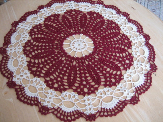 Lace doily, hand crochet,table center,  made by Demet, burgundy, ecru, very nice looking, ships free in the U.S. table center