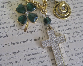 St. Patrick's Folly: Cross Choker Necklace 4 Leaf Clover Snake Charm Vintage Assemblage Irish Charms Emerald Green and Rhinestones
