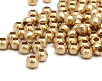 Tiny Bracelet Bead, 25 Raw Brass Ball Beads, Findings (5.8x4.8mm) A0743