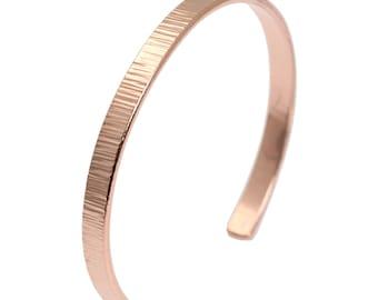 Thin Chased Copper Cuff Bracelet - Handmade Copper Cuff - Makes a Great 7th Anniversary Gift! - John S Brana Handmade Jewelry