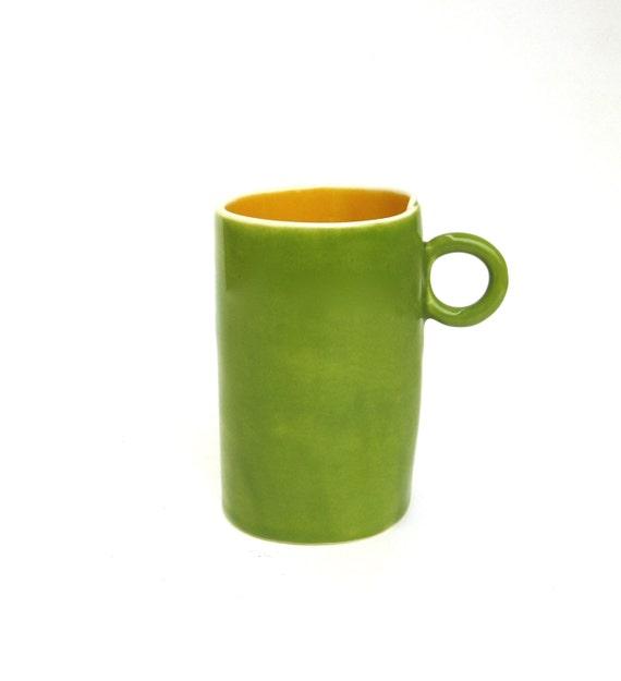 festive hand built porcelain cup ...  happy kiwi green and golden yellow ceramic mug