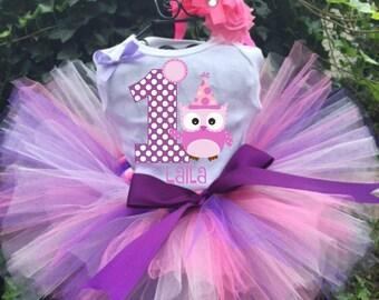Personalized Owl Birthday Three Piece Tutu Set - Owl Tutu Outfit - 1st Birthday