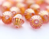 Acrylic Beads Pale Pink Gold Fluted Bicone Beads 8mm (30)