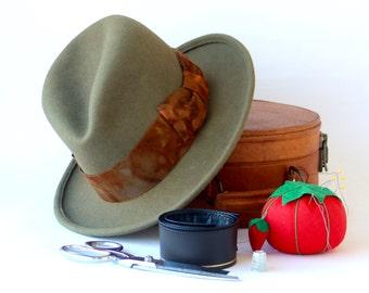 Leather Sweatband Men's Hat Fedora Hat Men Winter Hat Men Couture Hat Custom Hat Handmade Hat Felt Hat Hatter