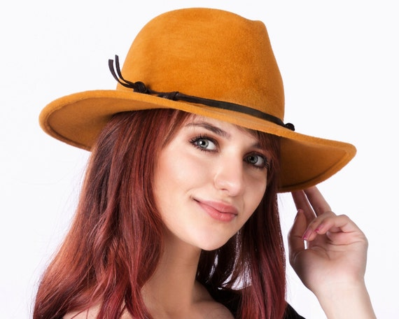 Yellow Hat Wide Brimmed Fedora Women's Fall Fashion Fall Accessories Western Style Custom Hat Dress Hat Formal Hat Amber Hat