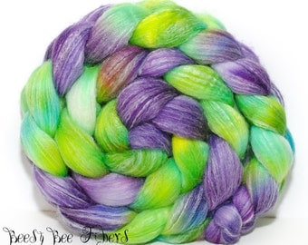 NEW OVERLAY - Merino Bamboo Combed Top Blend - Hand Painted Wool Roving - Hand Dyed for Spinning or Felting - 4.2 oz